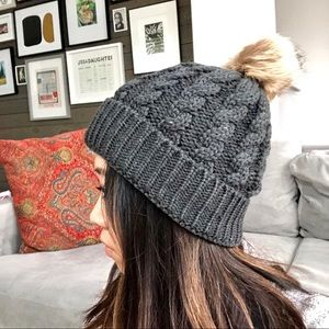 Accessories - BNWT Winter Cable Knit Beanie Charcoal Grey